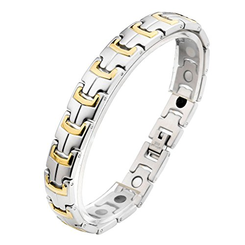 JOVIVI Herren Magnetarmband Edelstahl Poliert Gebuerstet Magnetisch Armreif Magnete Armband Armrief,Gold+Silber