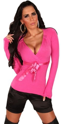 instyle-womens-plain-v-neck-long-regularlong-sleeved-top-pink-pink-one-size