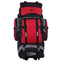 Extra Large 80 Litre Travel Hiking Camping Rucksack Backpack Holiday Luggage Bag (Black/Red)
