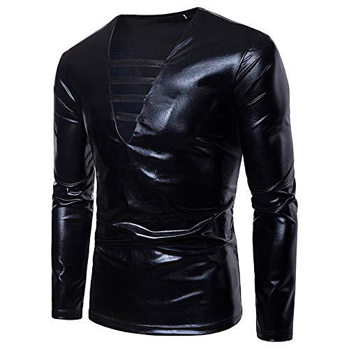 WHLWY Kapuzenpullover Männer Reine Farbe Nachtclub Reine Farbe Bronzing Leistung V-Kragen Langärmelige T-Shirt Pullover Schwarz M