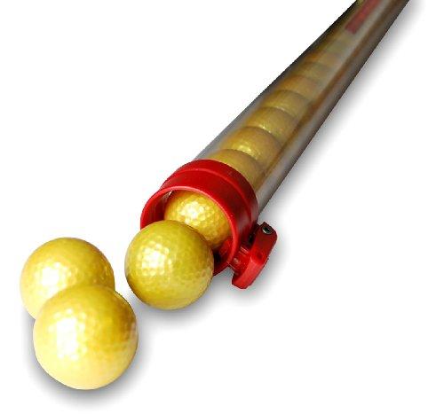Unbekannt CEBEGO Ballsammelröhre Golf mit 21 goldenen Golfbällen und Golfball Schlüsselanhänger,Golfballsammler Golfballröhre,Ball Pick Up Golfgeschenke