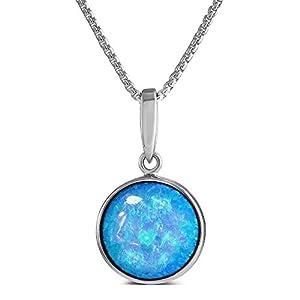 Leuchtender Erstellt Blauer Opal Anhänger aus Sterling Silber, 12 mm rund, herrliche Qualität in einer Geschenkbox.