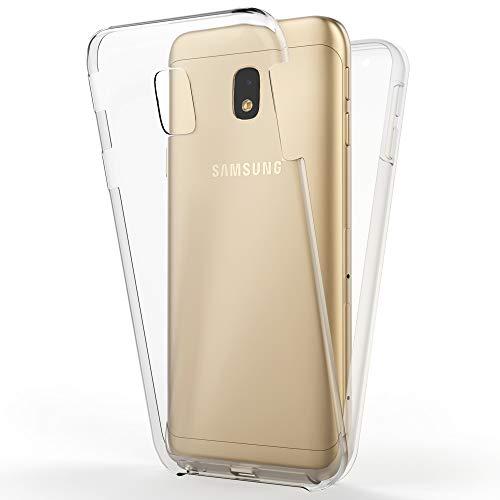 NALIA 360 Grad Handyhülle kompatibel mit Samsung Galaxy J5 2017, Full-Cover Silikon Bumper mit Displayschutz vorne Hardcase hinten, Hülle Doppel-Schutz, Dünn Case Handy-Tasche, Farbe:Transparent
