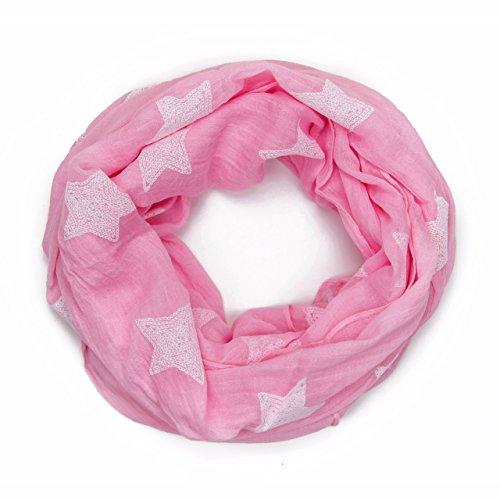 MANUMAR Loop-Schal für Damen | Hals-Tuch in pink mit Sterne Motiv als perfektes Frühling Sommer Accessoire | Schlauchschal | Damen-Schal | Rundschal | Geschenkidee für Frauen und Mädchen