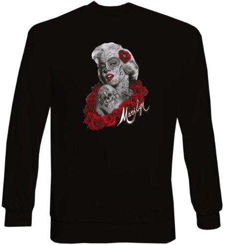 Marilyn Monroe Tattoo Face Rote Rosen Tag der Toten Sweatshirt Sweater Marylin de Los Muertos Gr. 3XL : (Toten Marilyn Monroe Kostüm)
