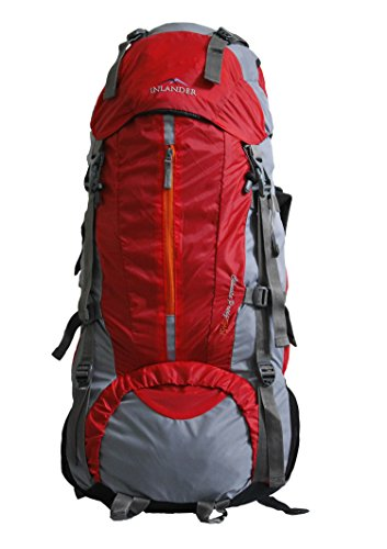 INLANDER 70+5L Red Travel Bag Backpacking Backpack for Outdoor Hiking Trekking Camping Rucksack