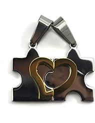 VANKER Dos forma de amor Corazón de la gente de la aleación Amor de los pares colgantes de los collares (Plata)