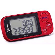 Ozeri 4x3sport Digital Pedometer, Pedometro digitale con Tecnologia Tri-Axis e Memoria di 30 giorni, rosso