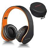 Casque Bluetooth sans Fil, Wireless Headphones Stéréo on Ear Pliable Casque 4 en 1 avec Micro Support FM Radio TF SD pour Téléphones Tablettes TV PC Notebook (Noir Orange)