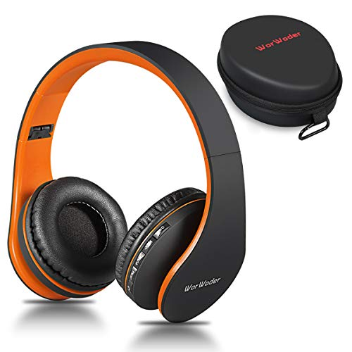 Casque Bluetooth sans Fil, Wireless Headphones Stéréo on Ear Pliable Casque 4 en 1 avec Micro Support FM Radio TF SD pour Téléphones Tablettes TV PC Notebook (Noir Orange)