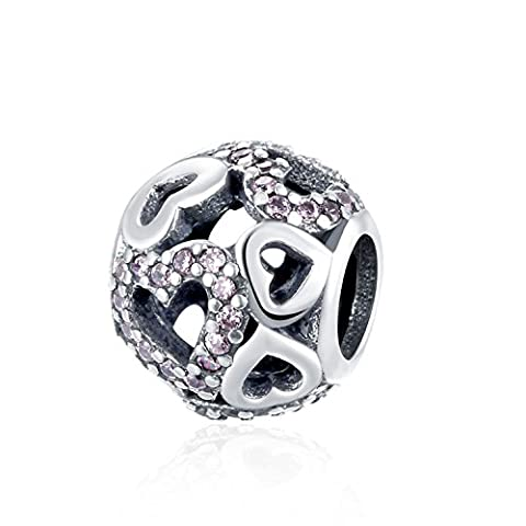 Hmilydyk Argent sterling Cœur Cristaux Swarovski Charms Pandora Bracelet
