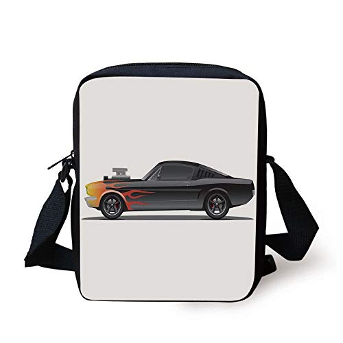 Cars,Custom Design Muscle Car with Supercharger and Flames Roadster Retro Styled Decorative,Black Orange Red Print Kids Crossbody Messenger Bag Purse