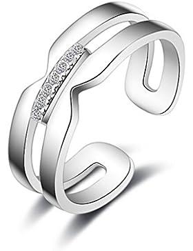 Shawa Ringe Öffnung Verstellbar 925er Sterling Silber mit Zirkon Memoir-Ringe für Partnerringe Freundschaftsringe...