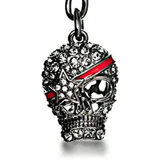 Swarovski Crystals Gunmetal Grey Skull Pendant Keychain w/ Star Eye Patch