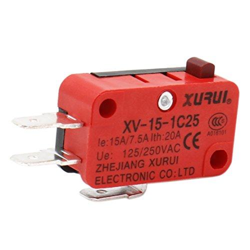 Heschen Mikroschalter V-15-1C25 SPDT Tastentyp 20A 250VAC, 2er Pack -