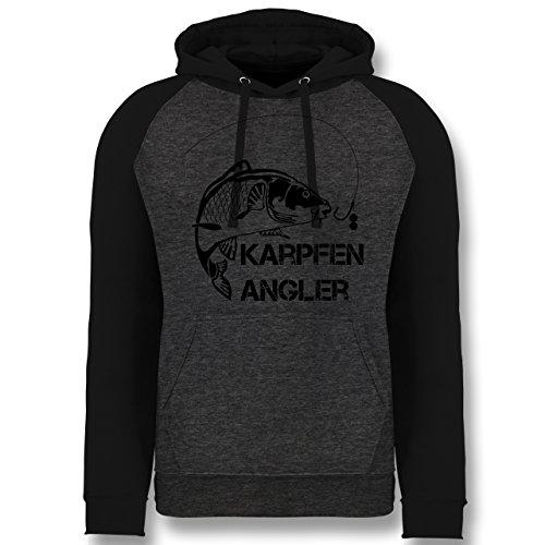 Shirtracer Angeln - Karpfen Angler - L - Anthrazit meliert/Schwarz - JH009 - Baseball Hoodie