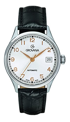 Grovana Unisex Automatic Watch with Silver Dial Analogue Display and Black Leather Strap 3190.2528