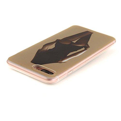 Hülle für Apple iPhone 7 Plus 5.5 zoll hülle Dünn Stil Licht Flexibel TPU Gel Case Bumper Malerei Muster Schwarz Löwe Farbe-13