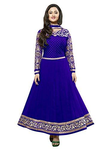 Sky Global Women's Blue Georgette Long Anarkali Unstitched Salwar Suit Dress Material (Dress_191_FreeSize_Blue)