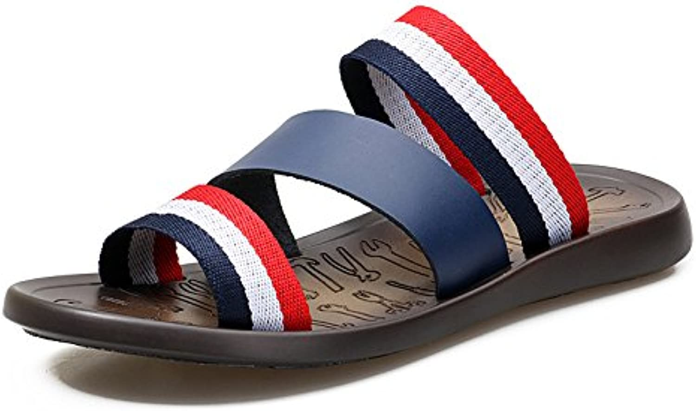 XING GUANG Sommer Neue Stil Herren Hausschuhe Herrenmode Wort Flip Flops Strand Sandalen Flip Flops Blue 38