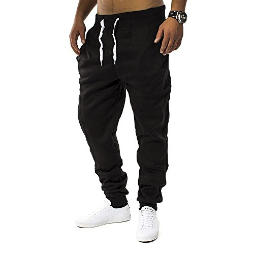 Herren Jogging Hose Fit & Home Sweat Pant Sporthose H1128 Schwarz M