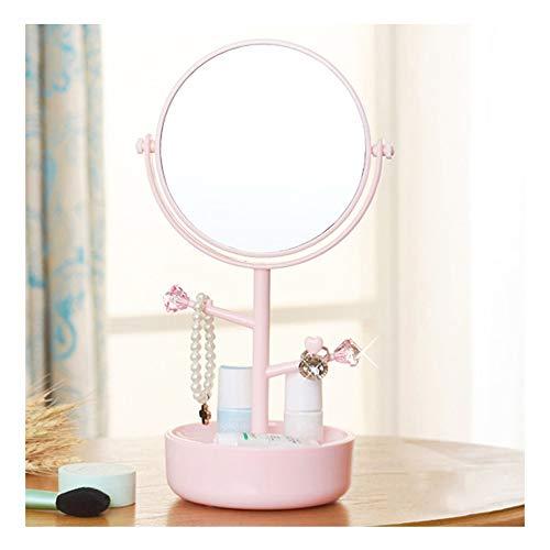 Miroir de maquillage XIAHE De Bureau Recto Verso Creative Home 360 degrés Rotation Miroir Pansement Miroir Boîte De Rangement Cosmétique Porte-Bijoux Miroir Pliant Multifonctionnel