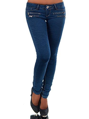 N498 Damen Jeans Hose Hüfthose Damenjeans Hüftjeans Röhrenjeans Röhrenhose Röhre, Farben:Blau;Größen:36 (S)