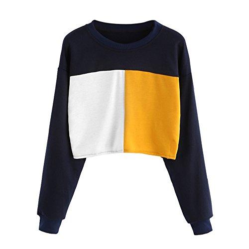 squarex _ lovely Damen Lange Ärmel Sweatshirt Patchwork ursächliche Tops Bluse, Baumwollmischung, navy, xl (Bestickte Mädchen Jeans-rock)