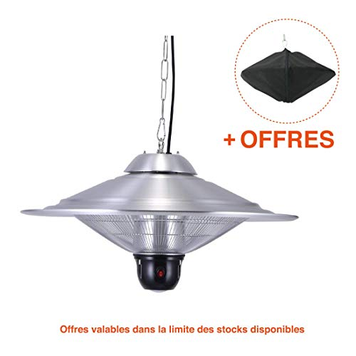 GREADEN - Parasol Chauffant Suspendu Infrarouge Saturn - équipe d'Une télécommande et d'Une Lampe à LED - Chauffage de terrasse - GR2RT3