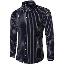LHWY Camisa Hombre Tops shirtCamisa de Manga Larga de la impresión de la Raya Vertical del Nuevo Negocio de la Moda del Ocio de los Hombres