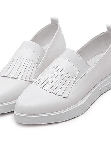 ZQ gyht Scarpe Donna - Mocassini - Casual - Plateau / A punta - Basso - Finta pelle - Nero / Bianco , white-us8.5 / eu39 / uk6.5 / cn40 , white-us8.5 / eu39 / uk6.5 / cn40 white-us5.5 / eu36 / uk3.5 / cn35