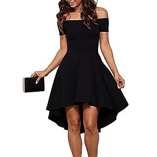 b7e049ea3eae ZJCTUO Damen Kleid Abendkleid Schulterfreies Cocktailkleid Jerseykleid  Skaterkleid Knielang Elegant Festlich Asymmetrisches Partykleid