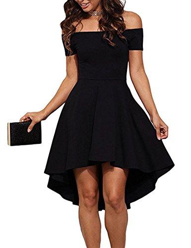ZJCTUO Damen Schulterfreies Kleid Elegant Skaterkleid Kurz Cocktailkleid Asymmetrisch Abenkleid...
