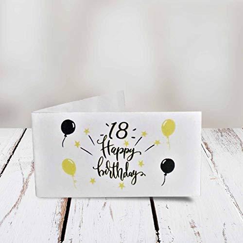 Kamiustore bigliettini 18° compleanno golden balloons neutri in set da 20, 50, 100, pezzi (20 bigliettini)