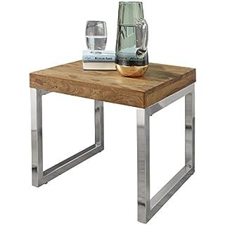 WOHNLING Beistelltisch Massiv-Holz Sheesham Wohnzimmer-Tisch Metallgestell Couchtisch Landhaus-Stil dunkelbraun 45 cm Natur-Produkt Wohnzimmermöbel Unikat modern Massivholzmöbel Echtholz Anstelltisch