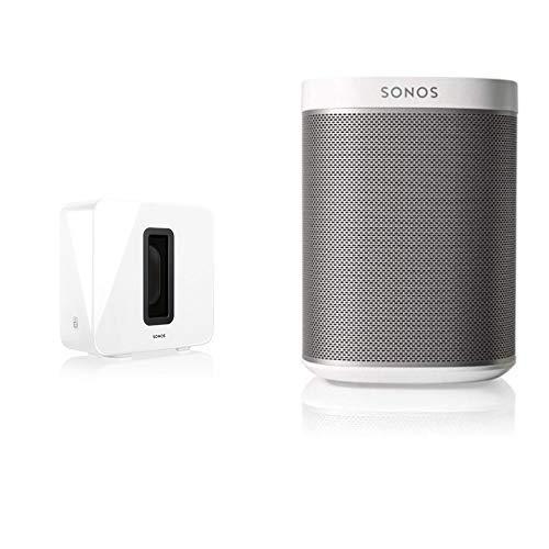 Sonos Sub, weiß – Leistungsstarker WLAN Subwoofer für dynamische & tiefe Bässe für alle Sonos Speaker & Play:1 Smart Speaker, weiß & kraftvoller WLAN Lautsprecher für unbegrenztes Musikstreaming