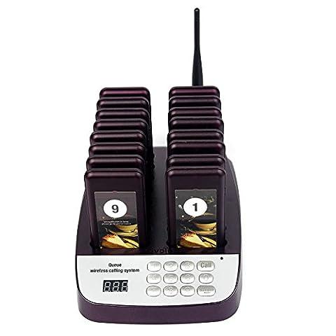 Tivdio T-113 999 Canaux Système D'appel Sans Fil de Service Restaurant Gestion de File D'attente avec 1 Base d'émetteur et 16 Pagers