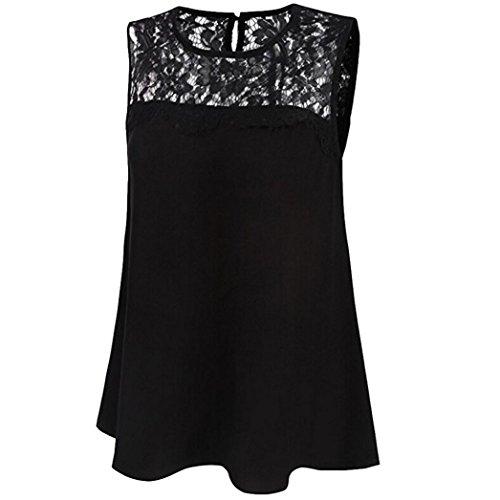 Amlaiworld Shirt Donna Eleganti Estive Con Pizzo Camicetta Chiffon Taglie Comode NERO-1