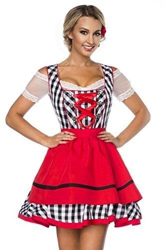 Dirndl, abito tradizionale vestiti Oktoberfest Grembiule-Costume da monaco nero/bianco/rosso L