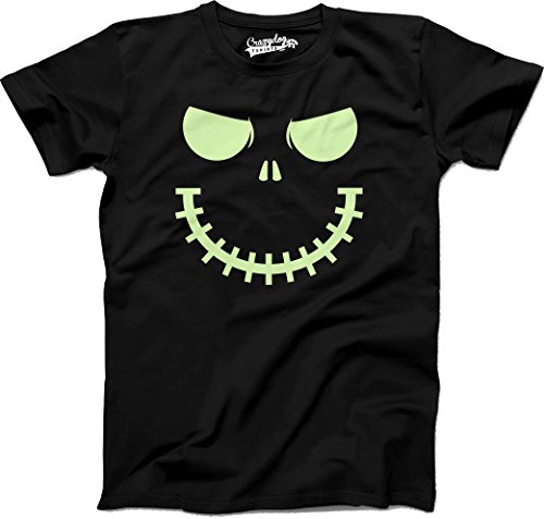 Crazy Dog Tshirts Youth Skeleton Zipper Pumpkin Face Tshirt Glowing Halloween Glow in The Dark Tee (Black) M - Jungen - - Nerdy Halloween Witze