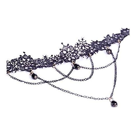 Sunnywill Mode Halskette schwarzer Spitze Halsband Choker Anweisung Bib Anhänger für Frauen Mädchen Damen
