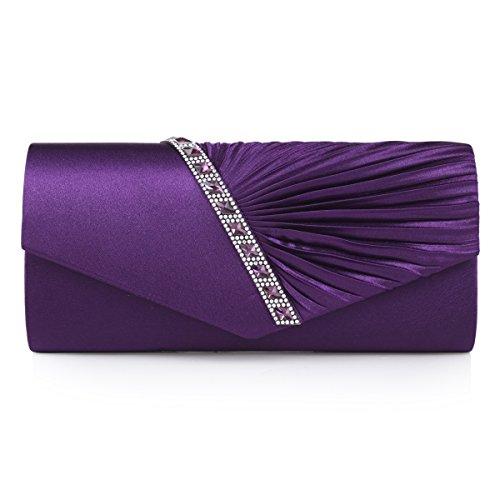 Damara Elegant Strassstein Damen Abendtasche Handtasche,Lila