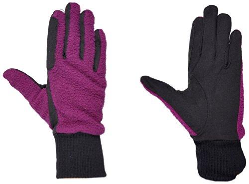 Riders Trend Damen Reiter Handschuhe Reithandschuhe Fleece zweifarbiges Interieur mit Elastischen Handgelenk Amara Black/Purple cm
