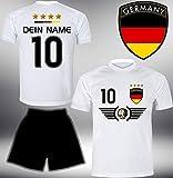 ElevenSports Deutschland Trikot Set 2018 mit Hose GRATIS Wunschname + Nummer im EM WM Weiss Typ #DE5th - Geschenke für Kinder Erw. Jungen Baby Fußball T-Shirt Bedrucken