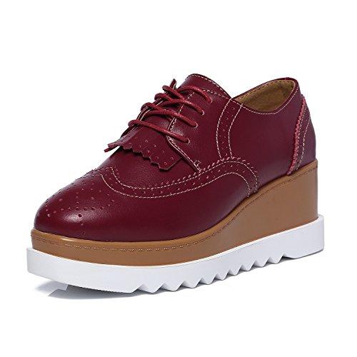JRenok Chaussures Femme de Ville Brogues Derbies Baskets Lacets Casuel Mocassins Compensé à Haute Talon 6.5 CM 35-41 Rouge