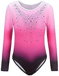 Sinoem Gymnastics Leotards for Girls Long Sleeve/Sleeveless Gradient Color Sparkle Leotard Dancing Ballet Gymnastics Athletic for Little Girl 5-12 Years