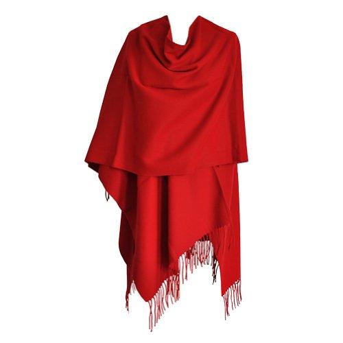 ncho mit Fransen - Damen - Hergestellt in Frankreich 05-Rot (Rot-poncho)