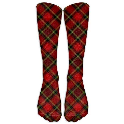 Langes Kleid Socken lässig schwarz rot Tartan Sport bequem atmungsaktiv über der Wade Rohr