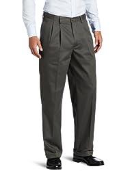 IZOD Mens Big-Tall Pleated Extended Twill Pant, Olive, 46x30