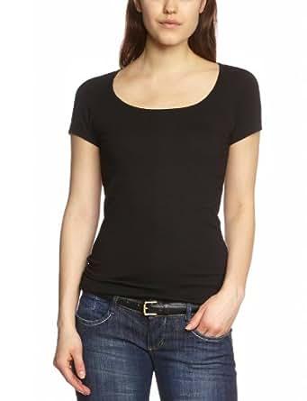Vero Moda Maxi - T-shirt - Uni - Col ras du cou - Manches courtes - Femme - Noir (Black) - FR: 34 (Taille fabricant: XS)